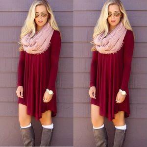Loose mini tunic shirt long sleeve dress